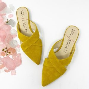 Sole Society Roselda Leather Yellow Mules …